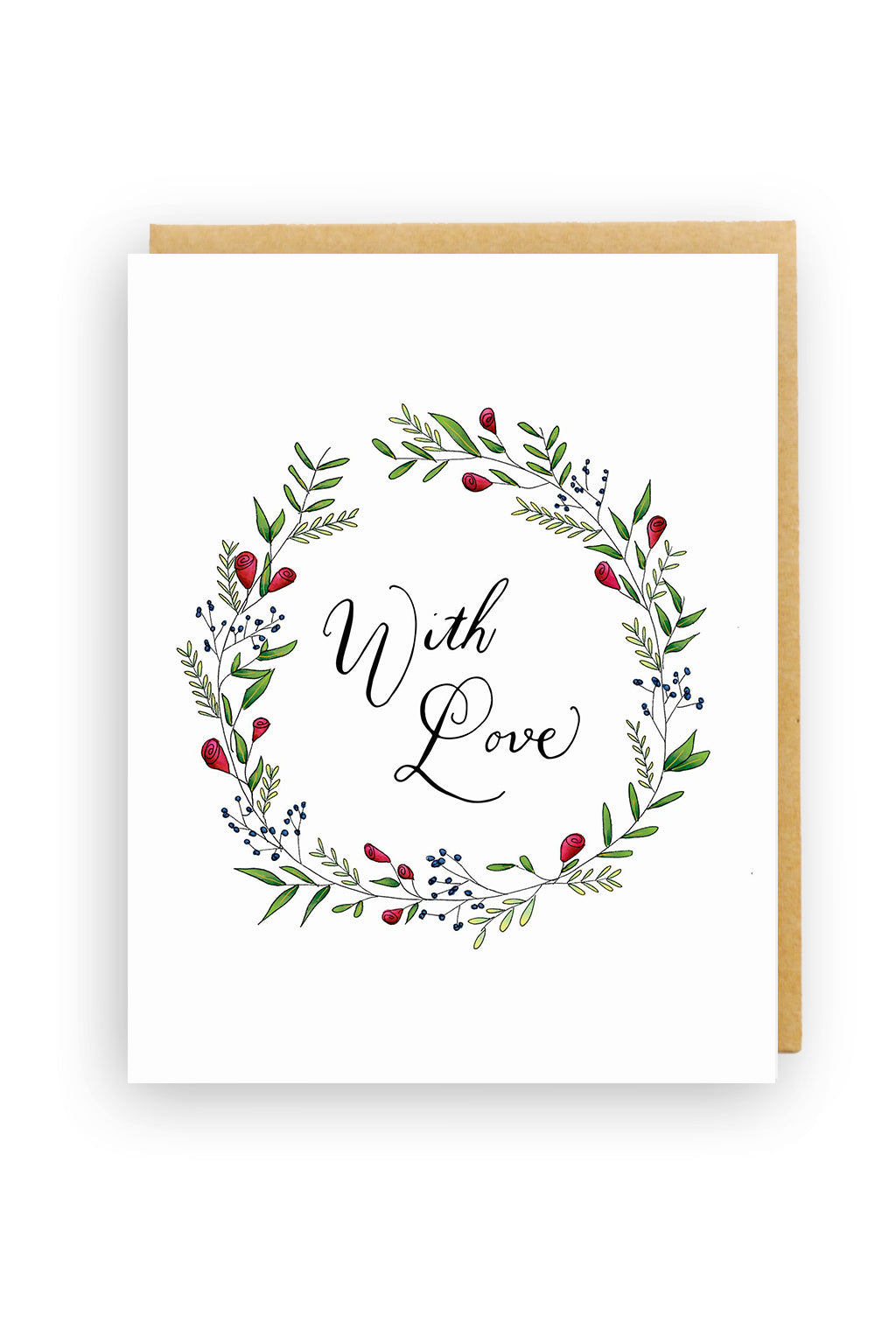 Squirrel Design Studio-Rose Wreath - Love Card-Mott and Mulberry
