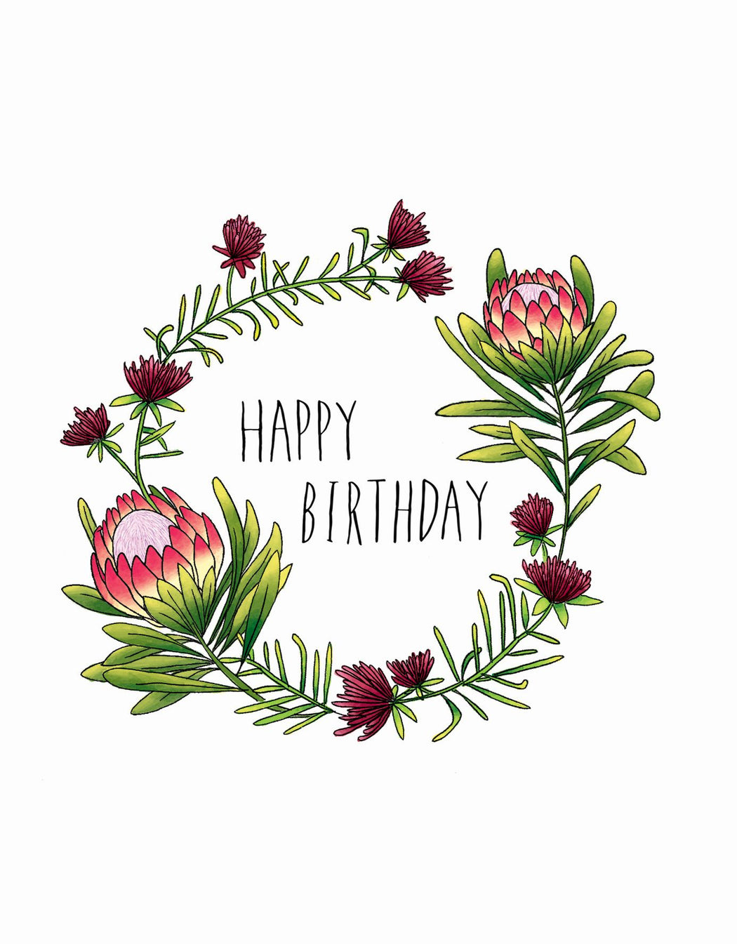 Squirrel Design Studio-King Protea Wreath - Birthday Card-Mott and Mulberry