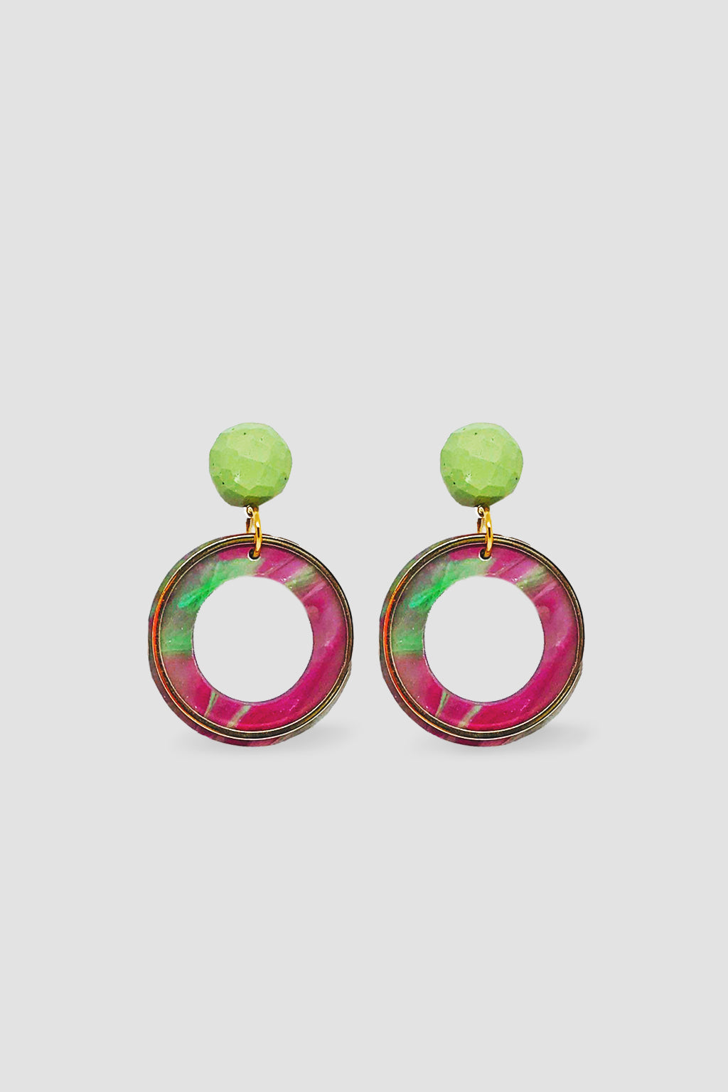 Down The Rabbit Hole-Geo Statement Dangle Earring - Citrus Pink-Mott and Mulberry
