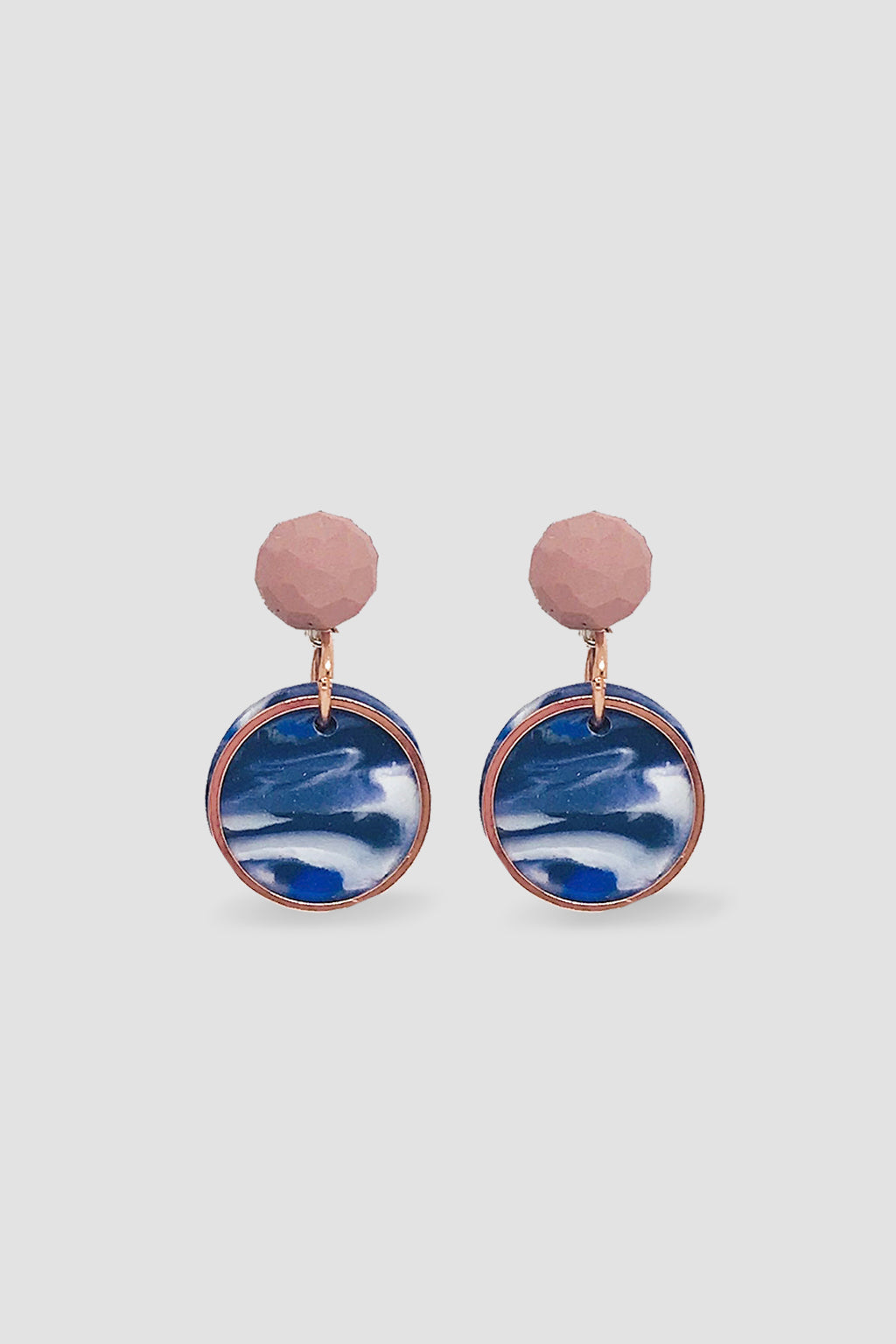 Down The Rabbit Hole-Geo Statement Earring Small - Pink Navy-Mott and Mulberry