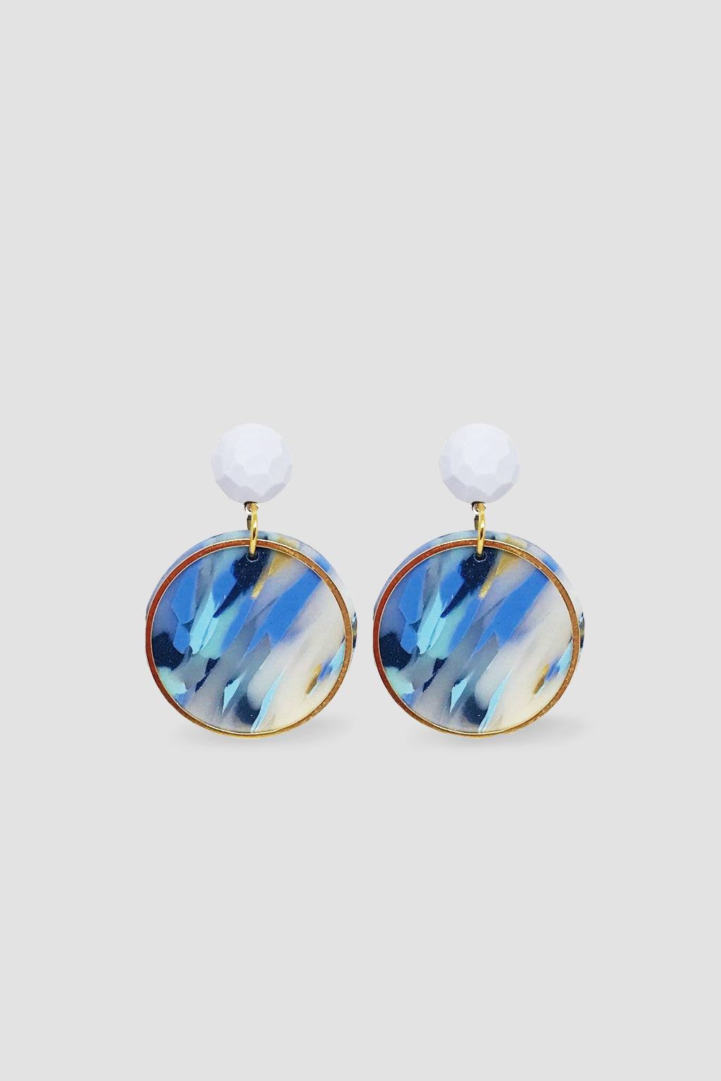 Down The Rabbit Hole-Geo Statement Dangle Earring - White Blue-Mott and Mulberry