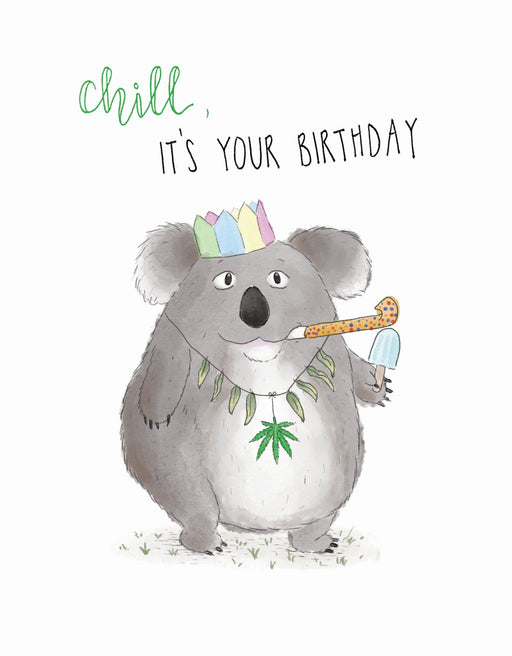 Squirrel Design Studio-Koala - Chill It's Your Birthday Card-mott-and-mulberry-shop-online-brisbane