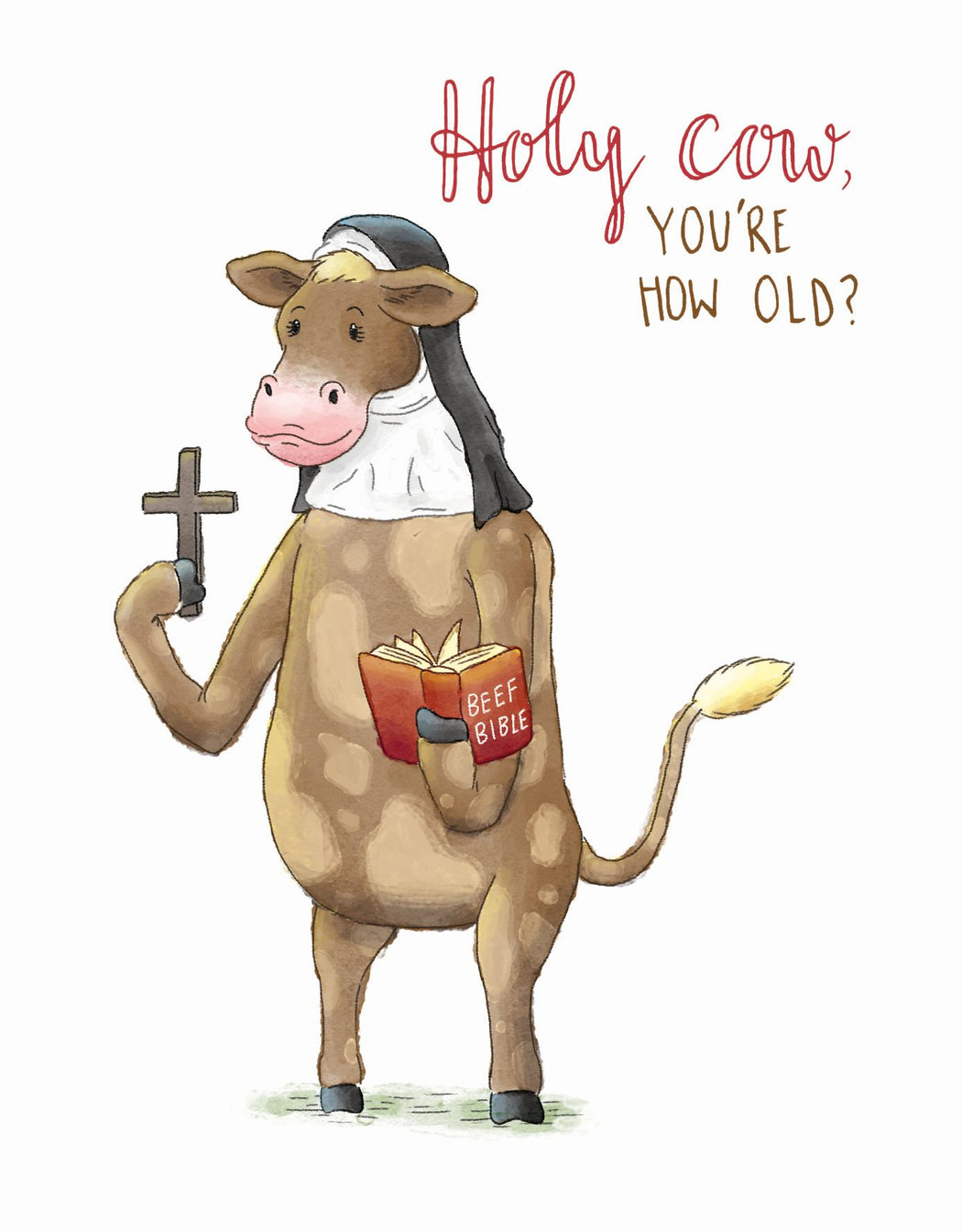 Squirrel Design Studio-Holy Cow, You're How Old? - Birthday Card-Mott and Mulberry