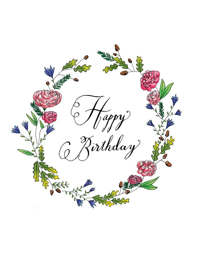 Squirrel Design Studio-Peonies & Bluebells Wreath - Birthday Card-Mott and Mulberry