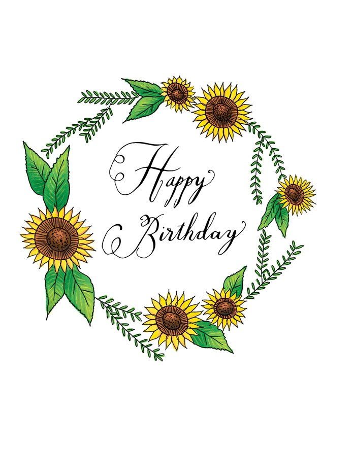 Squirrel Design Studio-Sunflower Wreath - Birthday Card-Mott and Mulberry