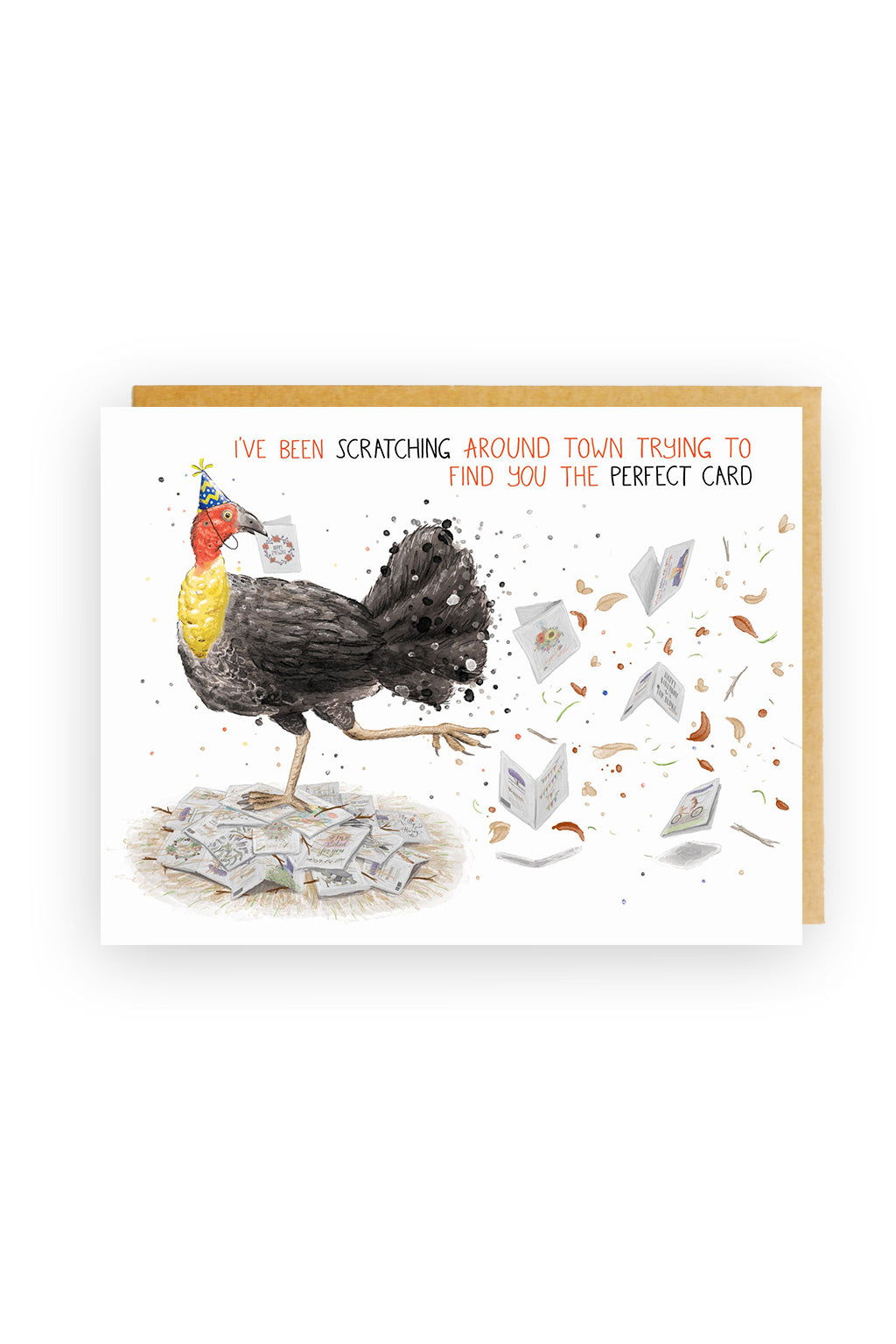 Squirrel Design Studio-Scratching Around Town Scrub Turkey - Birthday Card-Mott and Mulberry