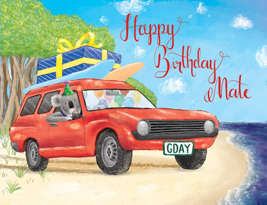 Squirrel Design Studio-Koala Driving Panel Van - Birthday Card-Mott and Mulberry
