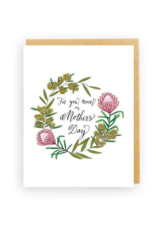 Squirrel Design Studio-Golden Wattle Wreath - Mother's Day Card-Mott and Mulberry