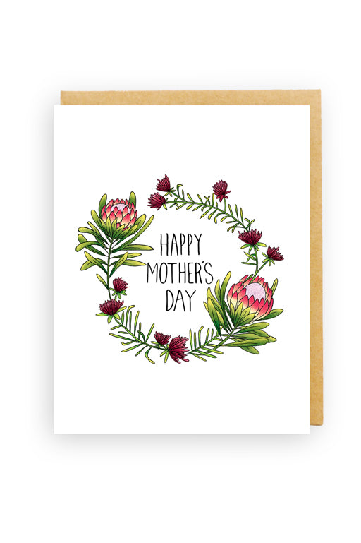 Squirrel Design Studio-King Protea Wreath - Mother's Day Card-Mott and Mulberry