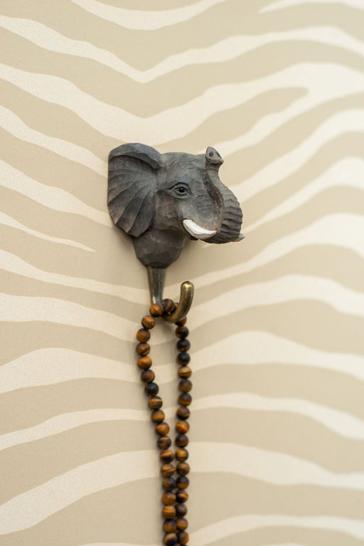 Hall and Wares-Hand Carved Elephant Hook-Mott and Mulberry