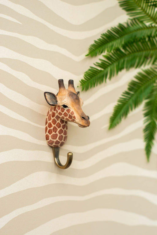 Hall and Wares-Hand Carved Giraffe Hook-Mott and Mulberry