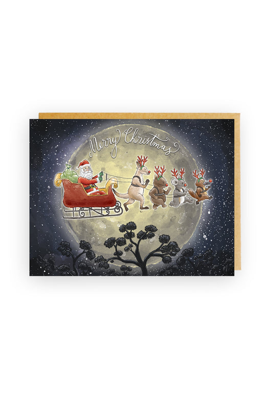 Squirrel Design Studio-Aussie Animal Sleigh Christmas Card-Mott and Mulberry
