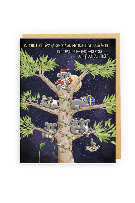 Squirrel Design Studio-Partridge In A Gum Tree (Censored) Christmas Card-Mott and Mulberry