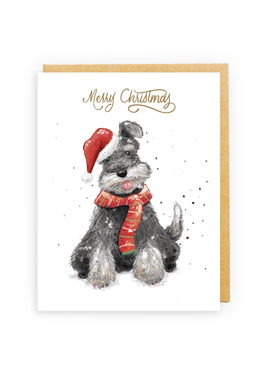 Squirrel Design Studio-Christmas Mini-Schnauser - GOLD FOIL Christmas Card-Mott and Mulberry