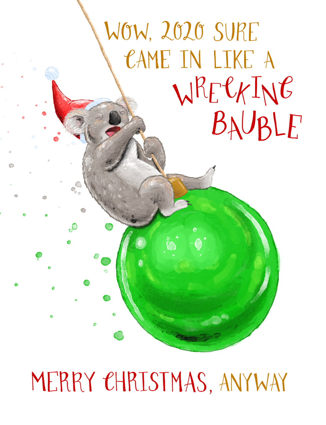 Squirrel Design Studio-Wrecking Bauble Christmas Card-Mott and Mulberry