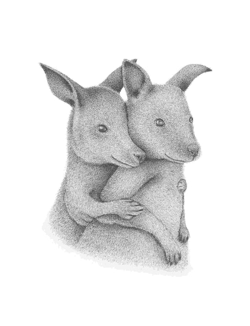 Squirrel Design Studio-Cuddling Joeys - Greeting Card-Mott and Mulberry