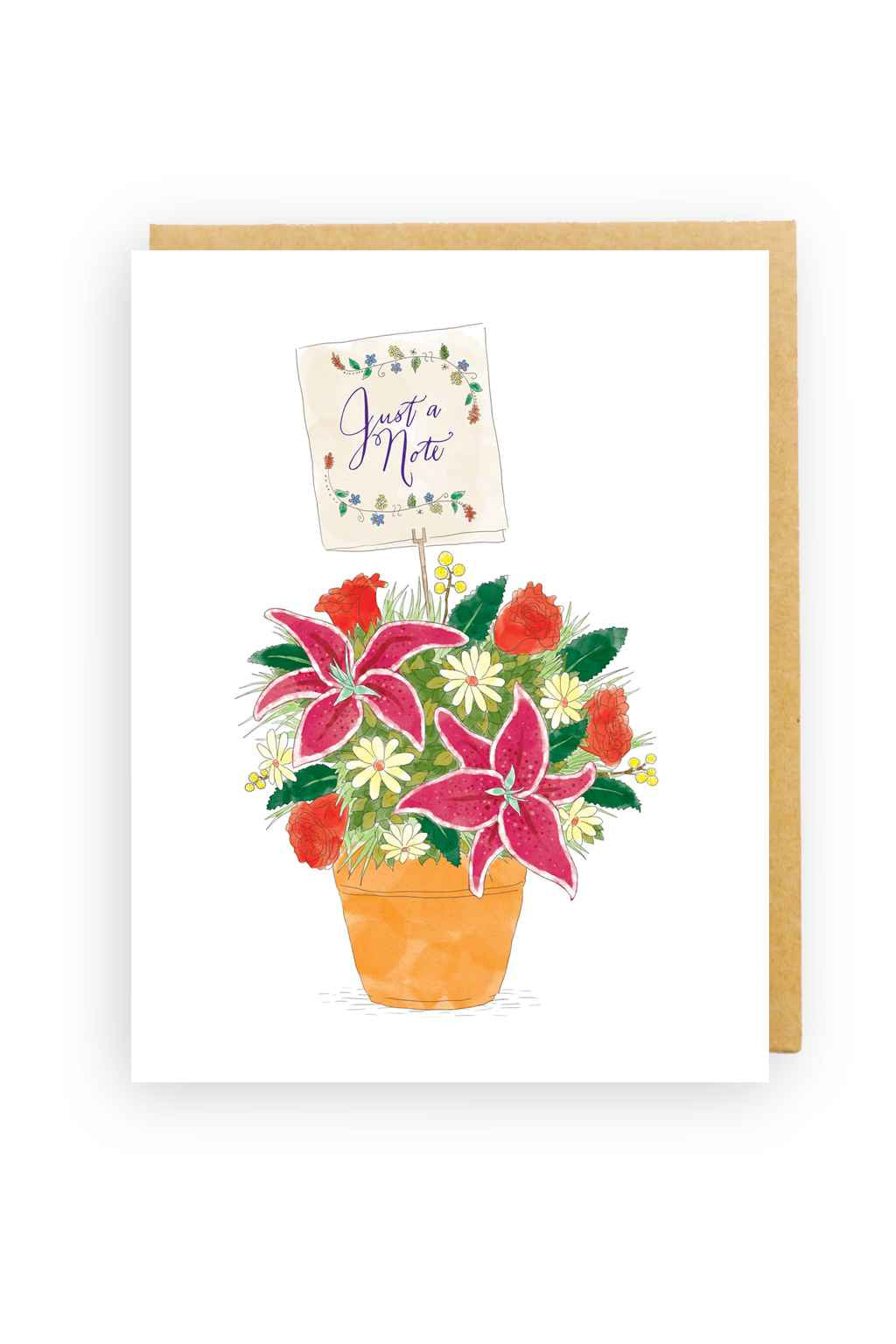 Squirrel Design Studio-Flowerpot Just A Note - Greeting Card-Mott and Mulberry