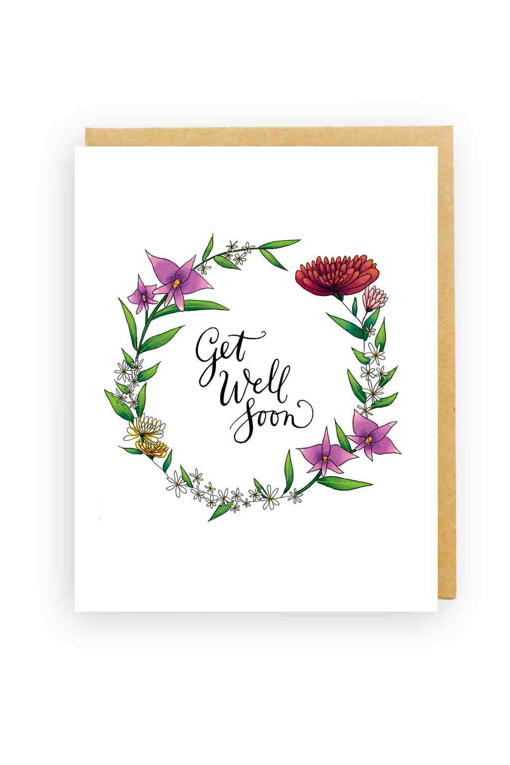 Squirrel Design Studio-Cooktown Orchids Wreath - Sympathy Card-Mott and Mulberry