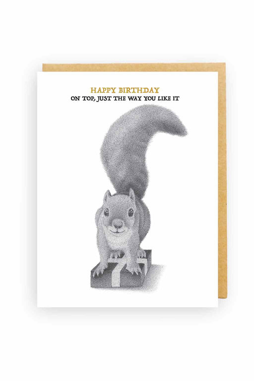 Squirrel Design Studio-Squirrel On Present I'm On Top - Birthday Card-Mott and Mulberry