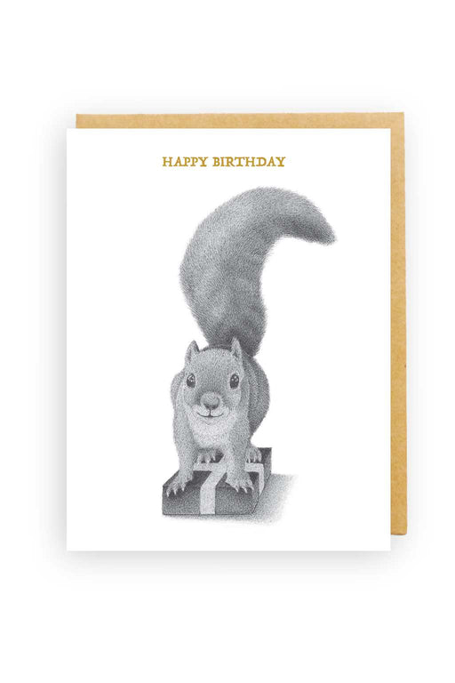 Squirrel Design Studio-Squirrel On Present - Birthday Card-Mott and Mulberry