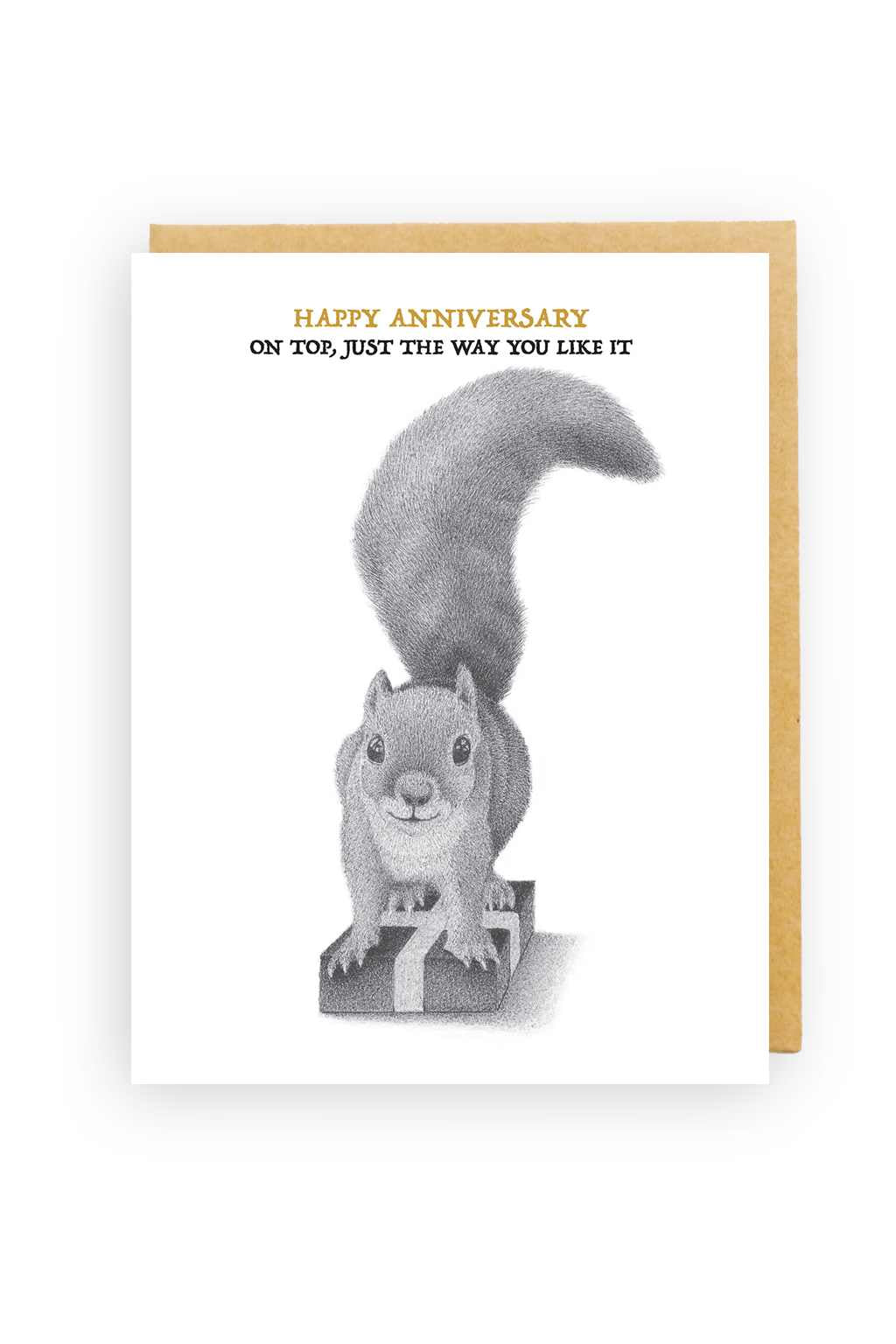 Squirrel Design Studio-Squirrel On Present - Anniversary Card-Mott and Mulberry