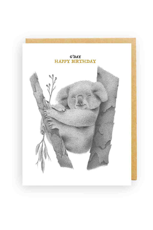 Squirrel Design Studio-Koala In Gumtree G'Day - Birthday Card-Mott and Mulberry