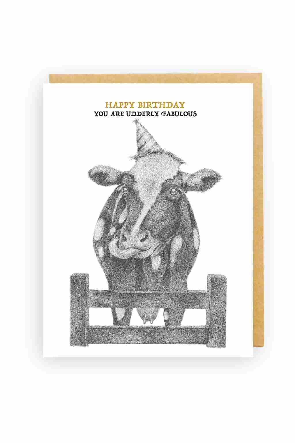 Squirrel Design Studio-Licking Cow Udderly Fabulous - Birthday Card-Mott and Mulberry