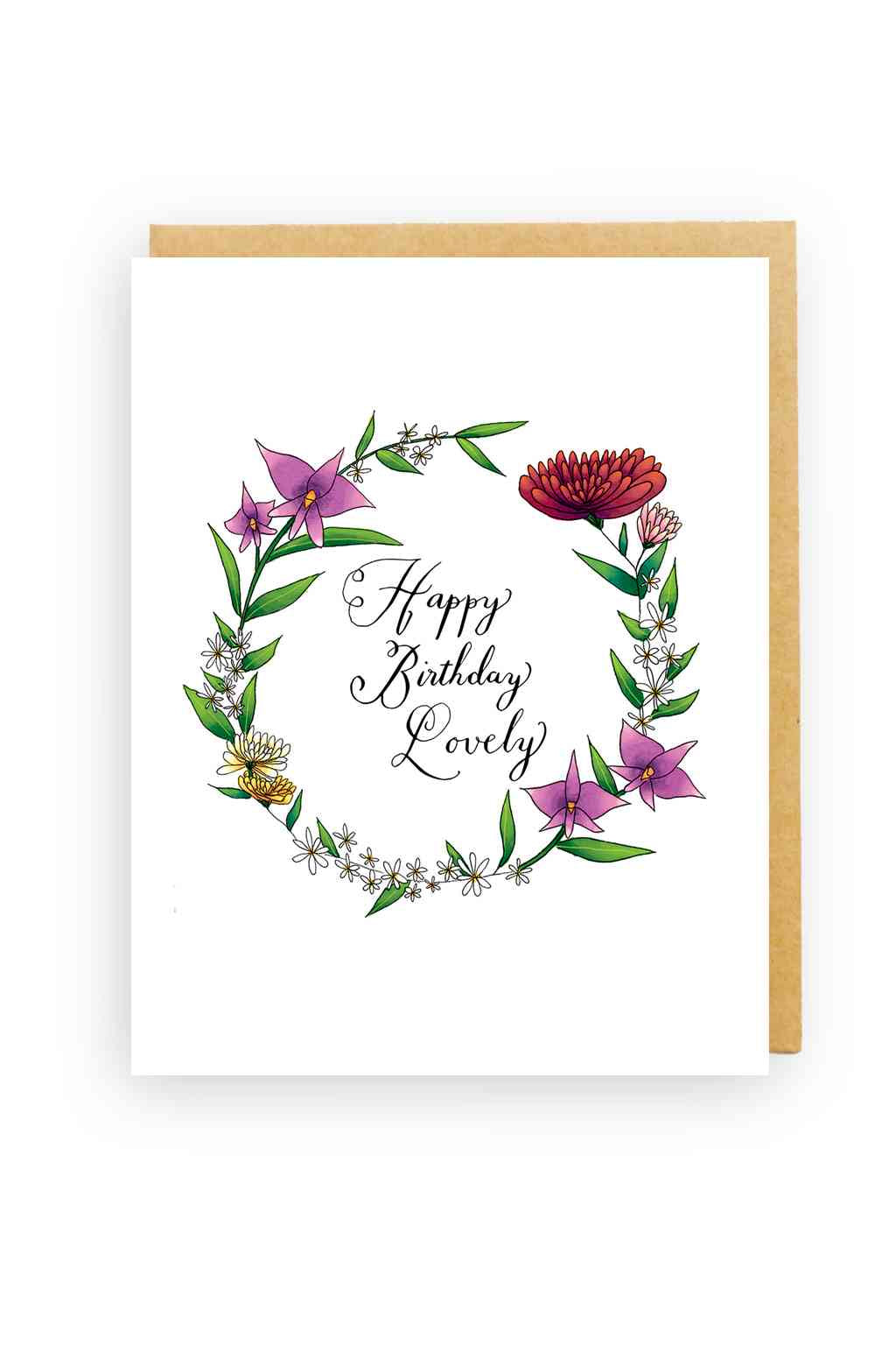 Squirrel Design Studio-Cooktown Orchids Wreath - Birthday Card-Mott and Mulberry