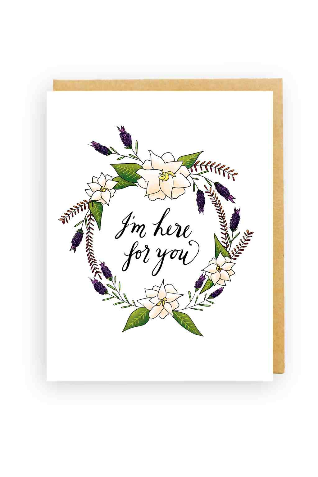 Squirrel Design Studio-White Gardenia Wreath - Sympathy Card-Mott and Mulberry