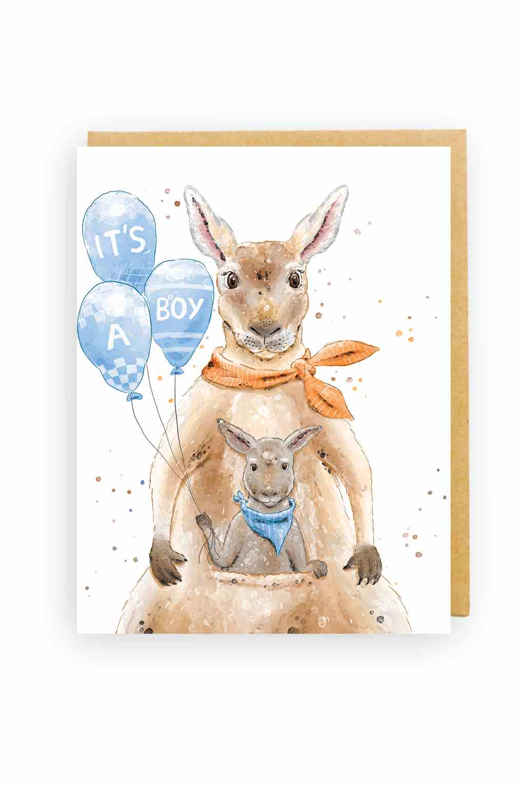 Squirrel Design Studio-Kangaroo & Joey It's A Boy - Baby Card-Mott and Mulberry