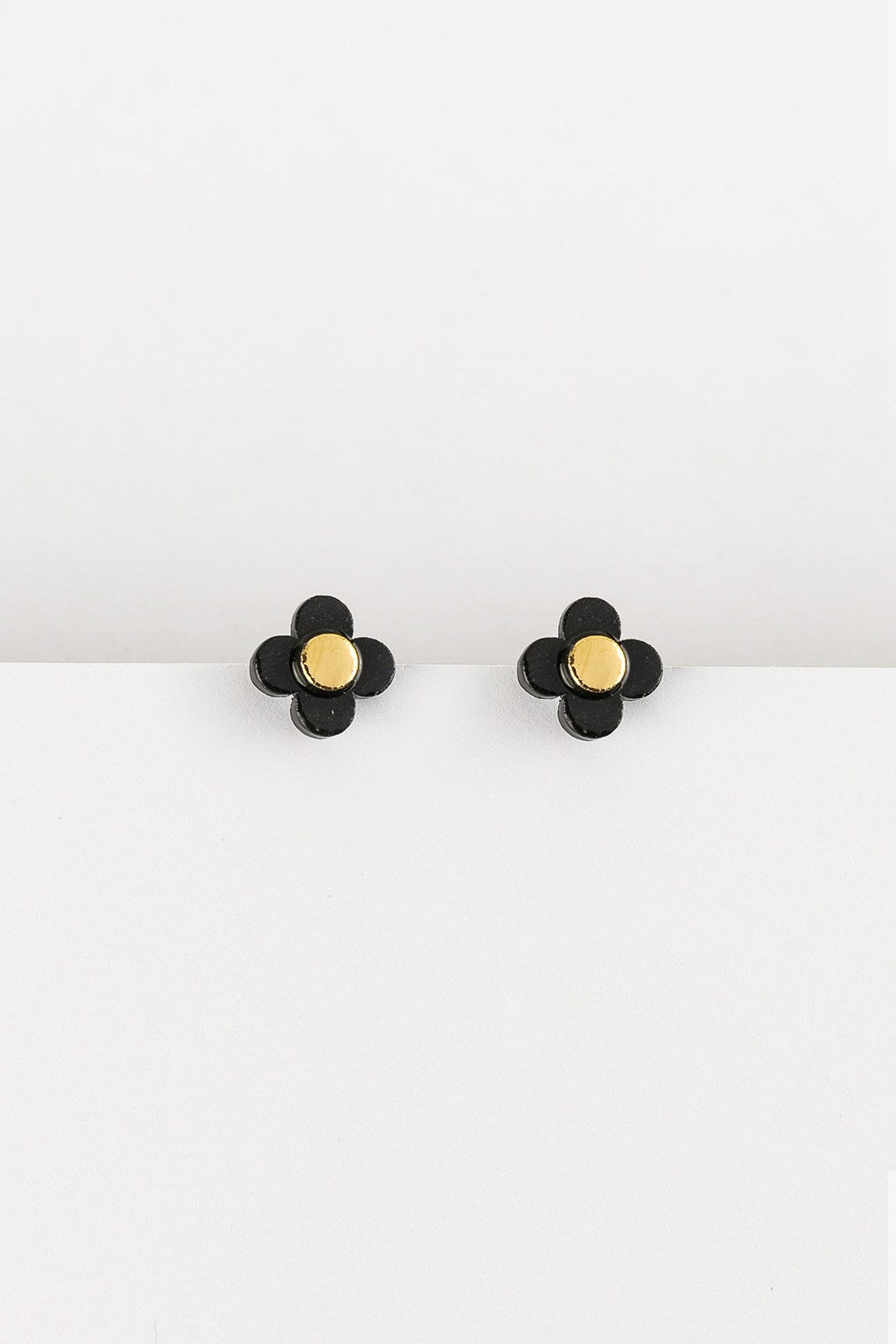 Erin Lightfoot-Flower Stud Earrings -Black-Mott and Mulberry