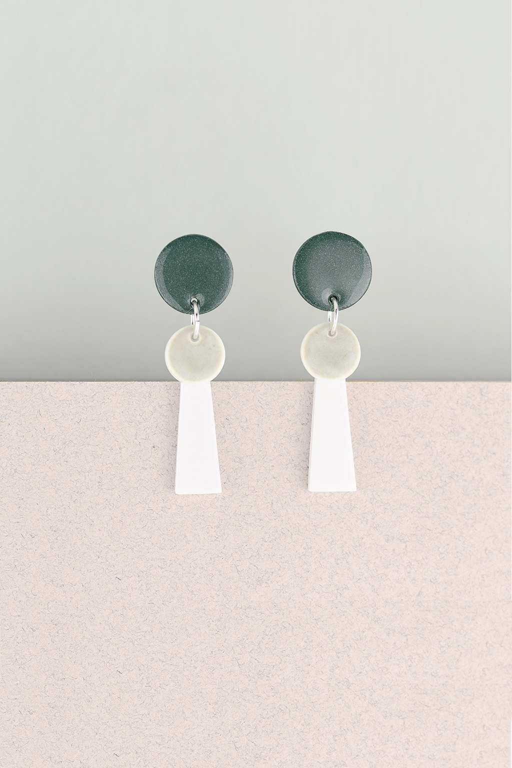 Erin Lightfoot-Small White Tassel Earrings - Green-Mott and Mulberry