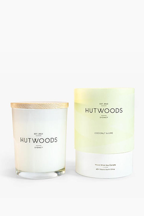 Hutwoods-Medium Candle - Coconut & Lime - 250g-Mott and Mulberry