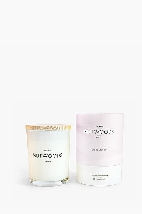 Hutwoods-Small Candle - Lychee & Peony - 125g-Mott and Mulberry