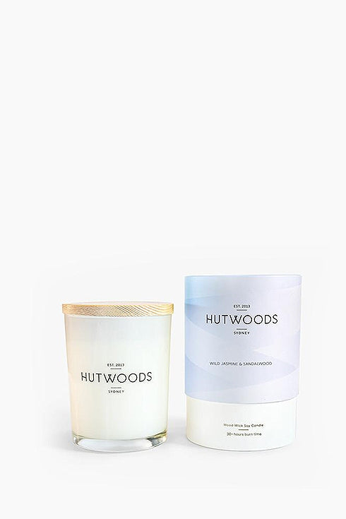 Hutwoods-Small Candle - Wild Jasmine & Sandalwood - 125g-Mott and Mulberry