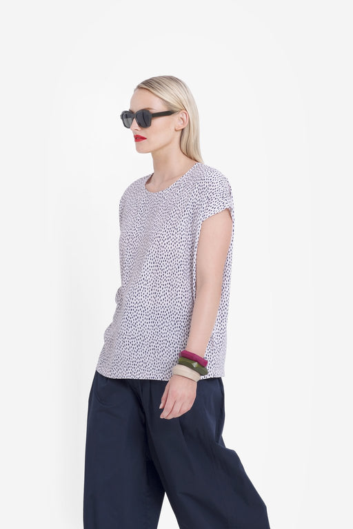 ELK-Oens Shell Top Copper / Navy-mott-and-mulberry-shop-online-brisbane