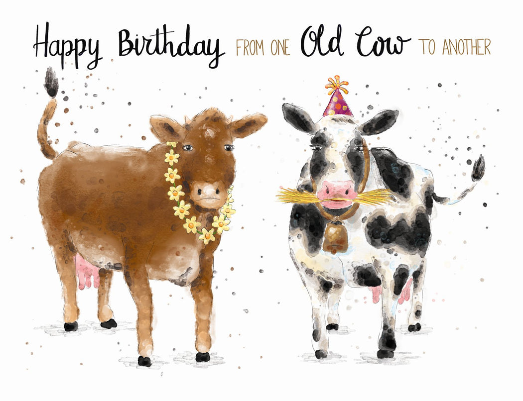 Squirrel Design Studio-One Old Cow To Another - Birthday Card-Mott and Mulberry