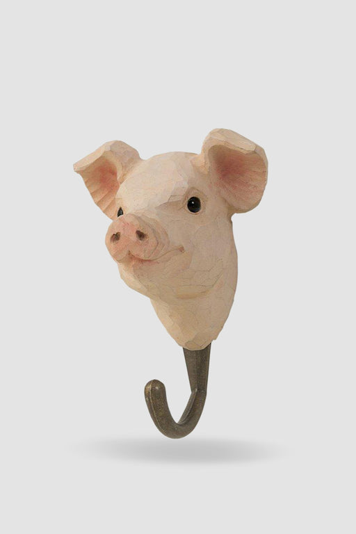 Hall and Wares-Hand Carved Pig Decor Hook-Mott and Mulberry