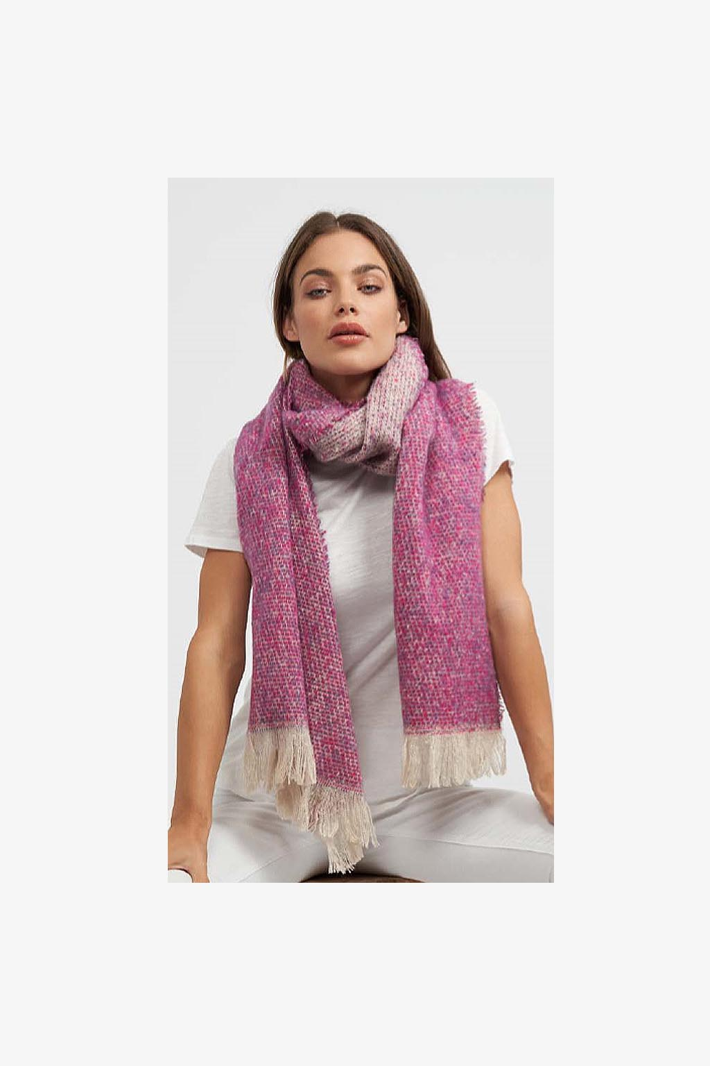 Rare Rabbit-Speckles with Natural Tassels Scarf - MAGENTA-Mott and Mulberry