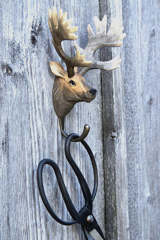Hall and Wares-Hand Carved Red Deer Hook-Mott and Mulberry