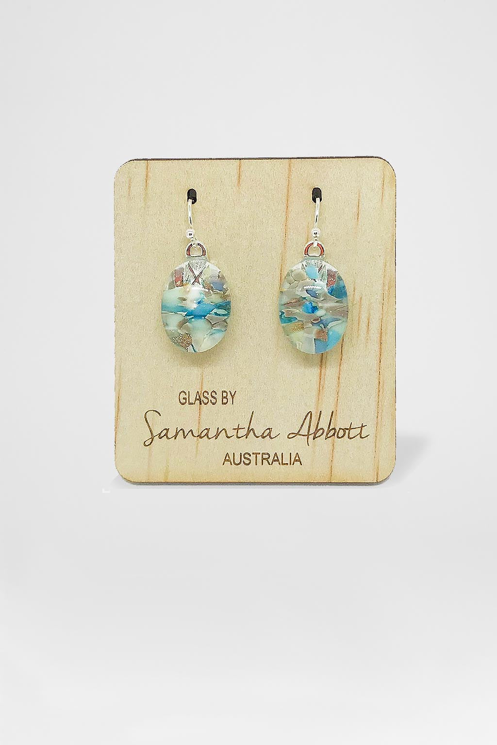 Samantha Abbott Glass-Oval Drop Earring - Crystal Blue Droplet-Mott and Mulberry