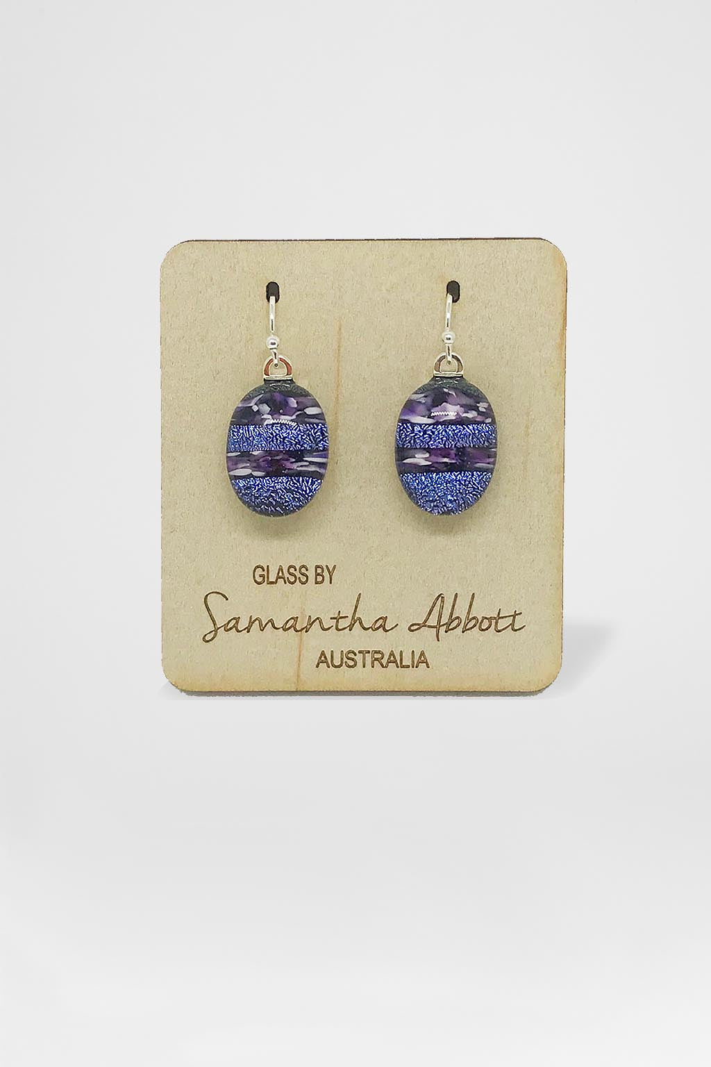 Samantha Abbott Glass-Oval Drop Earring - Deep Blue-Mott and Mulberry