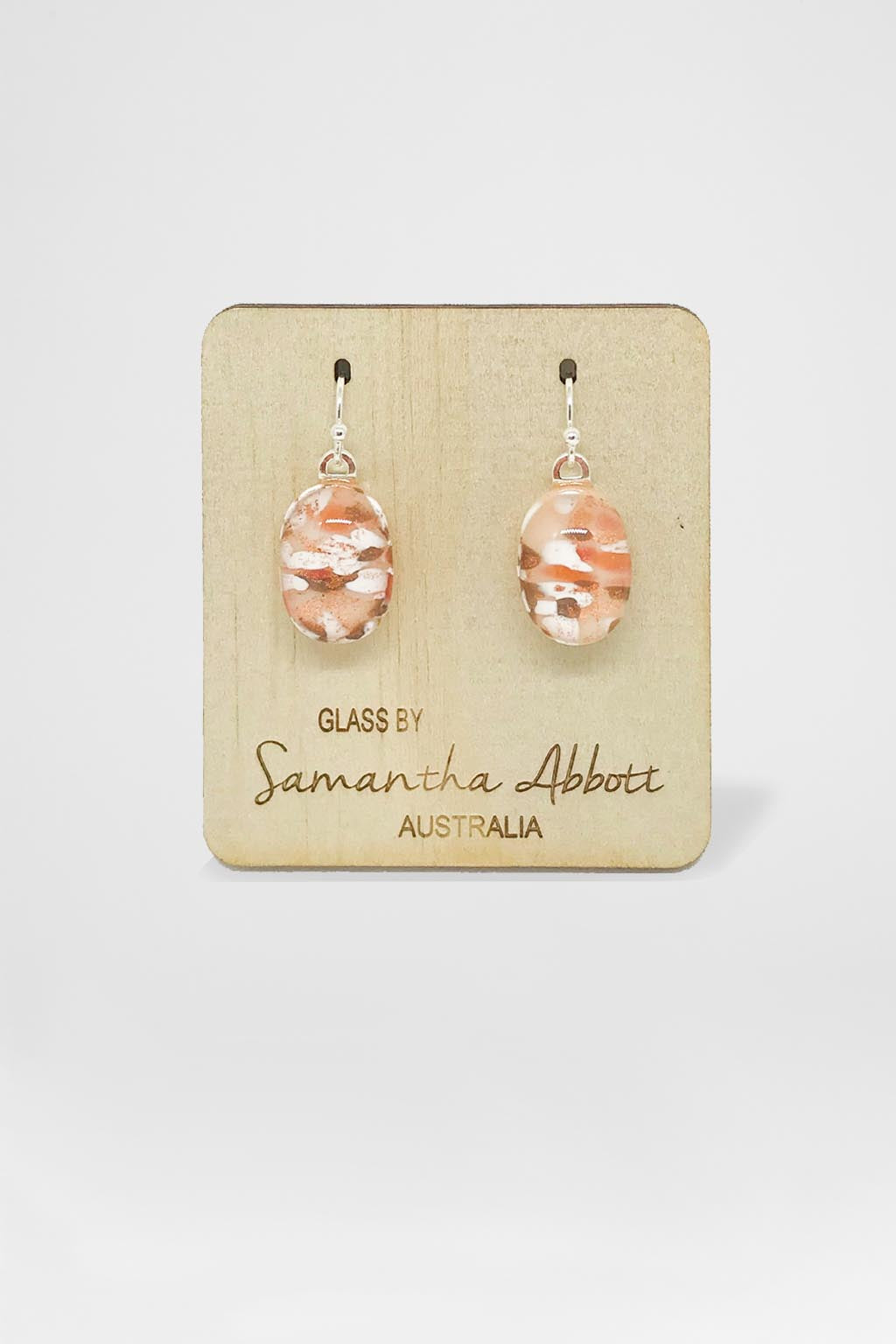Samantha Abbott Glass-Oval Drop Earring - Ember Droplets-Mott and Mulberry
