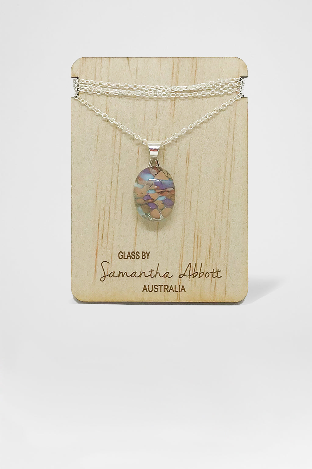 Samantha Abbott Glass-Glass Pendant Necklace - Lilac and Blue-Mott and Mulberry