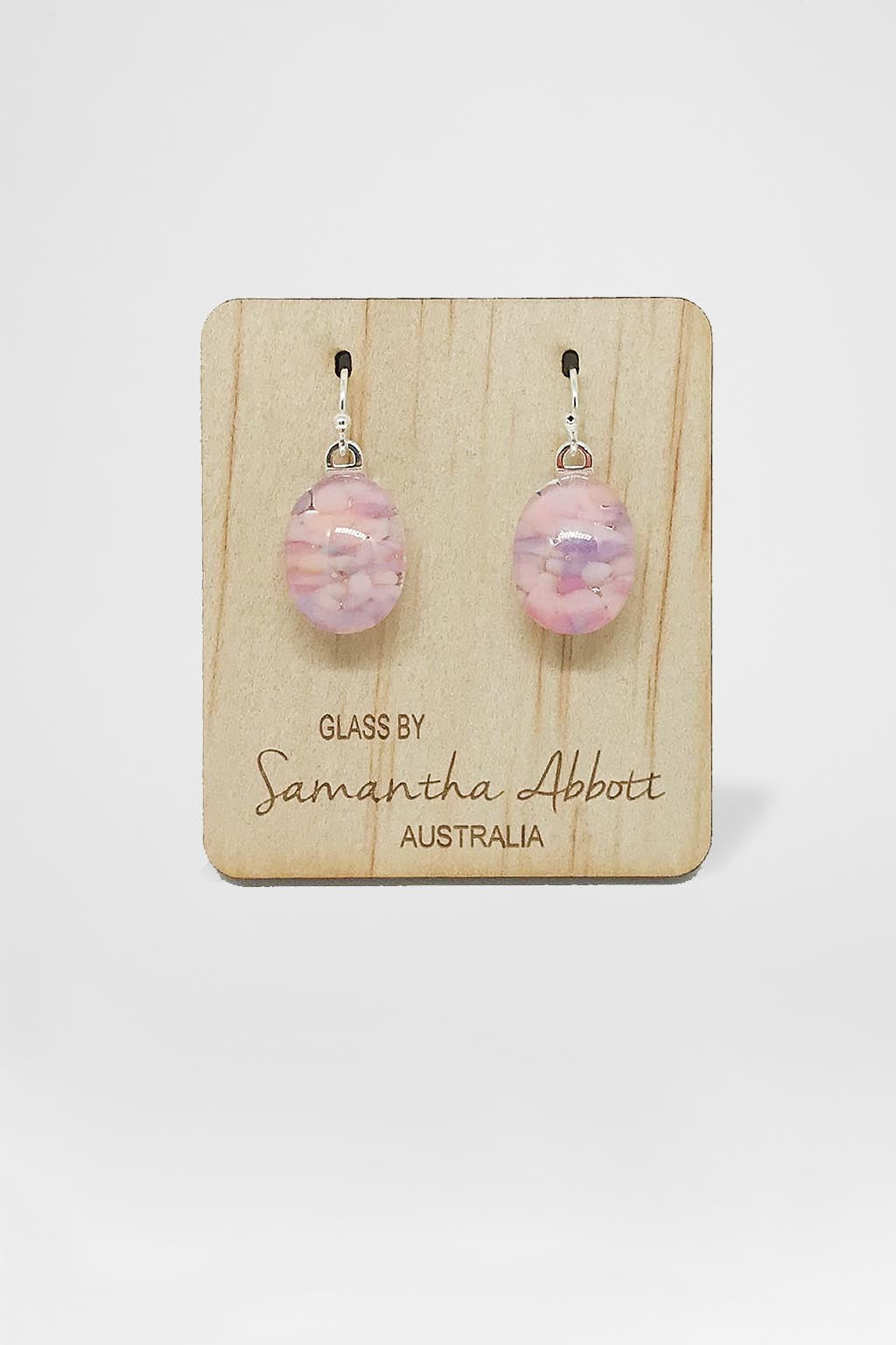 Samantha Abbott Glass-Oval Drop Earring - Pink Droplets-Mott and Mulberry