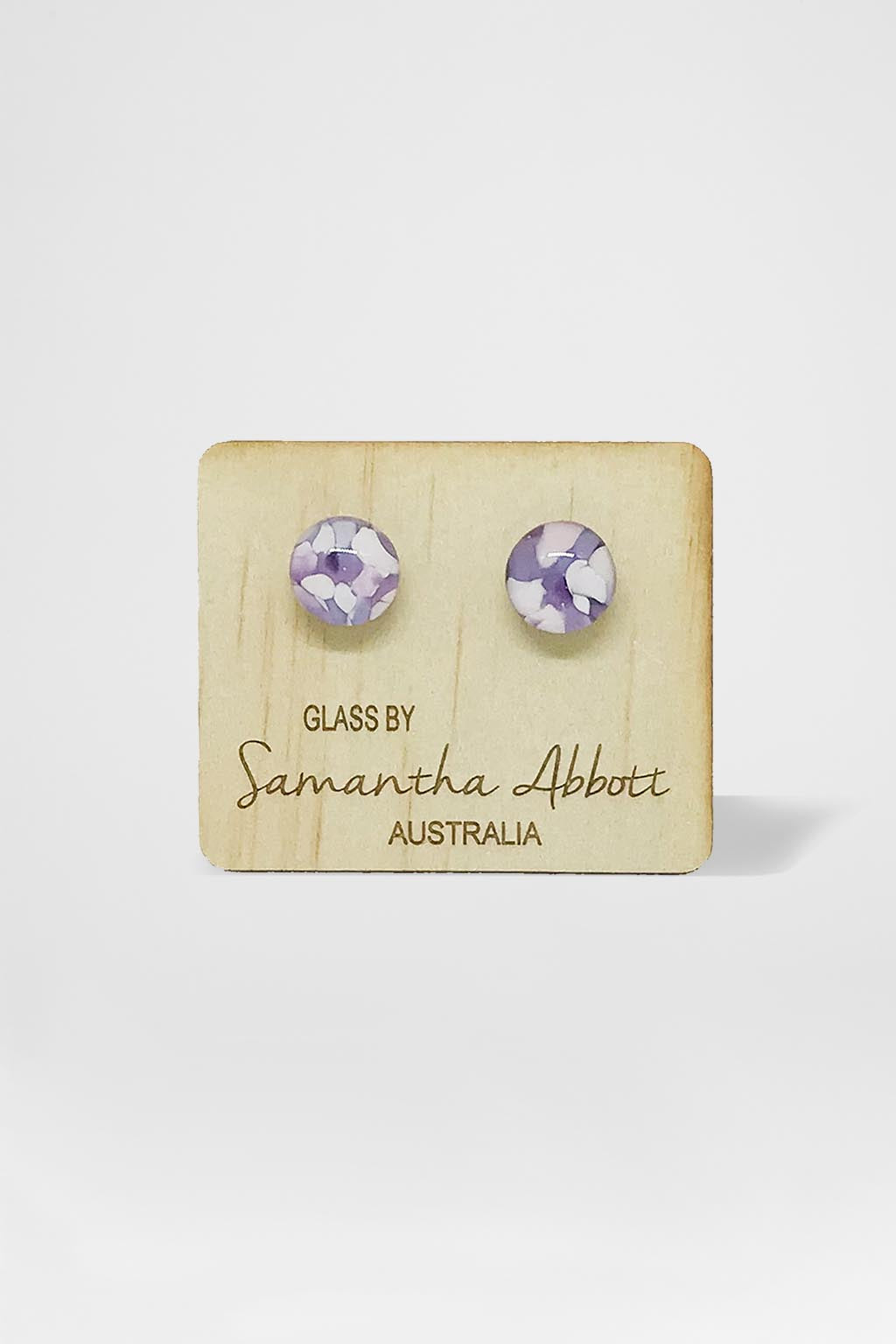 Samantha Abbott Glass-Glass Stud Earring - Purple Flower-Mott and Mulberry