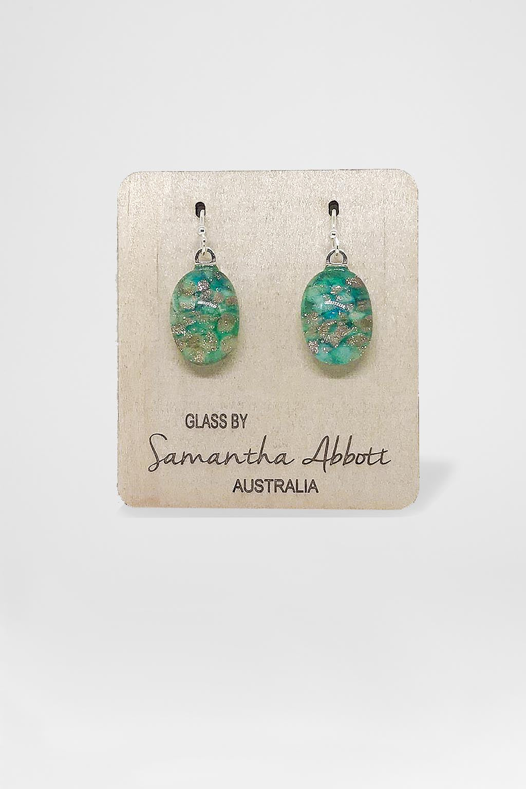 Samantha Abbott Glass-Oval Drop Earring - Turqouise Glitter Droplets-Mott and Mulberry
