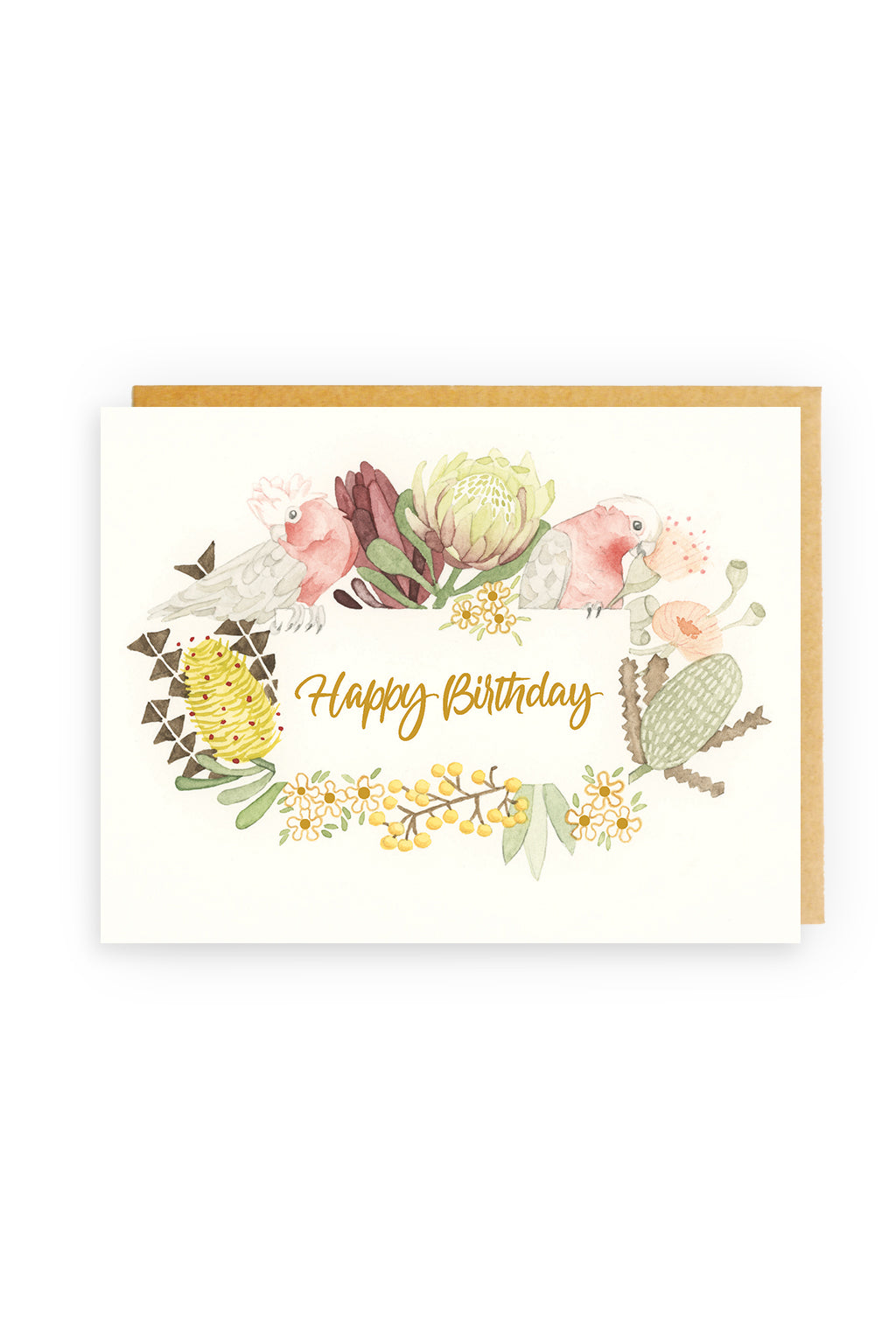 Squirrel Design Studio- Happy Birthday, Beautiful GOLD FOIL  - Greeting Card-Mott and Mulberry