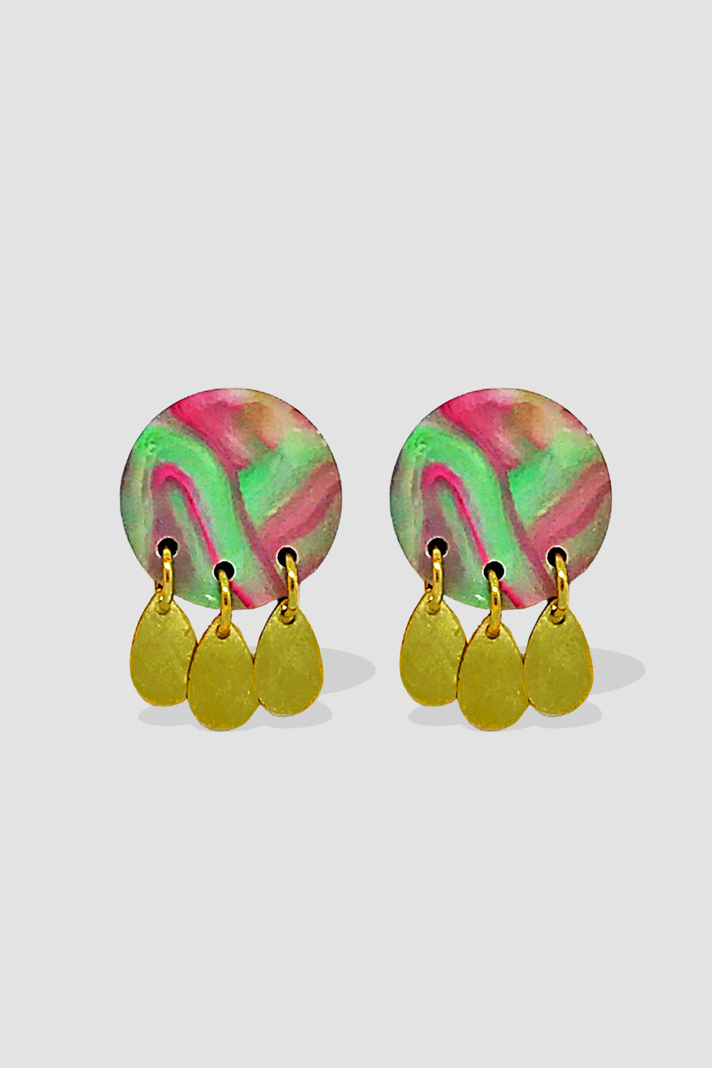 Down The Rabbit Hole-Stud Dangle Earring - Pink Green Gold-Mott and Mulberry