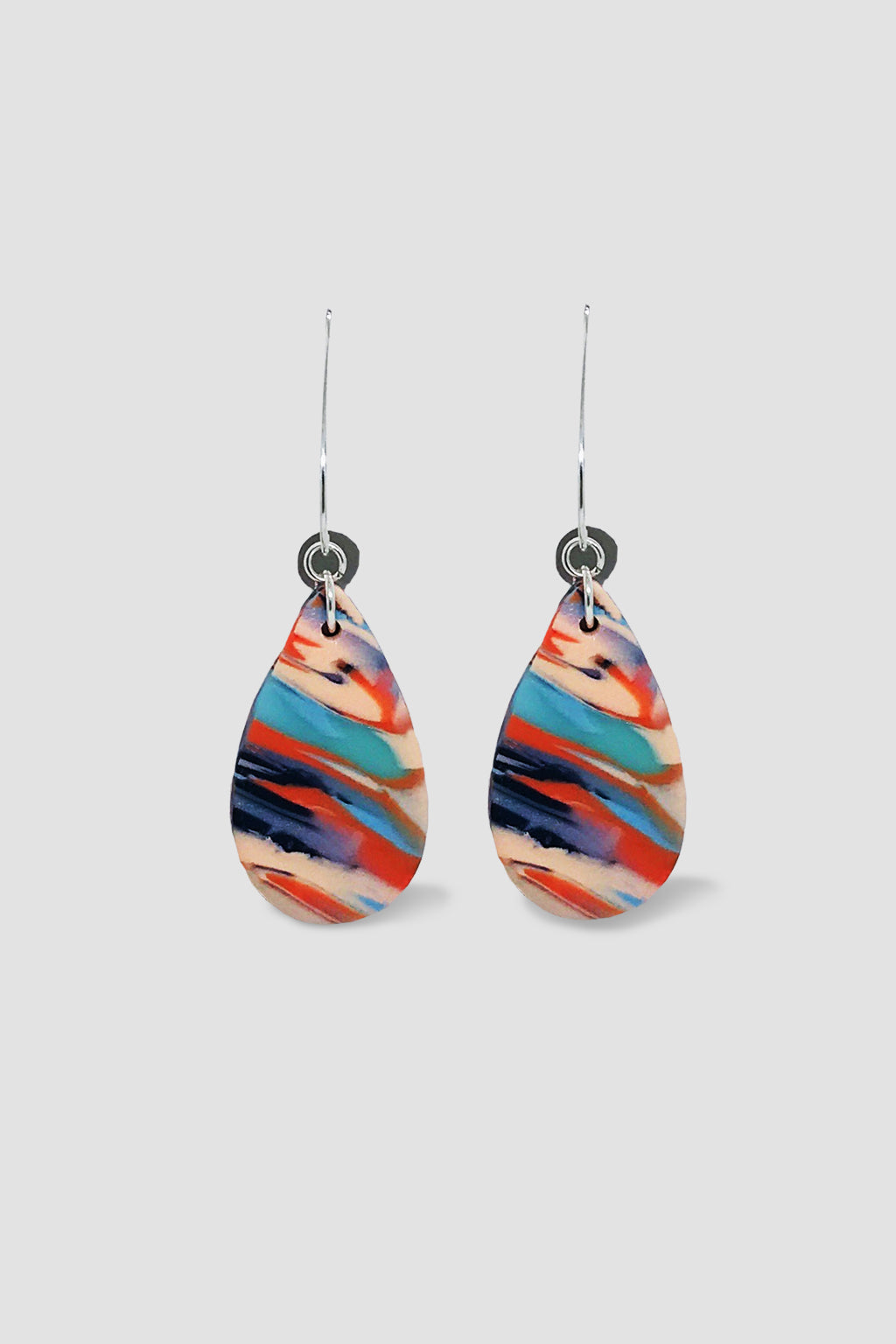 Down The Rabbit Hole-Tear Drop Dangle Earring - Orange Blue-Mott and Mulberry